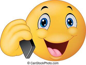 caricatura, emoticon, smiley, falando, ligado