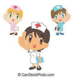 caricatura, enfermeiras, polegar cima