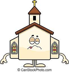 caricatura, enfermo, iglesia