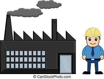 caricatura, engenheiro, com, fábrica
