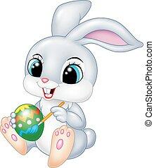caricatura, engraçado, bunny easter, quadro