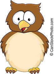 caricatura, engraçado, coruja