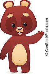 caricatura, engraçado, ilustração, urso