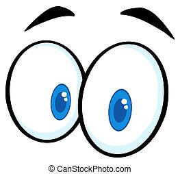 caricatura, engraçado, olhos