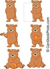 caricatura, engraçado, urso