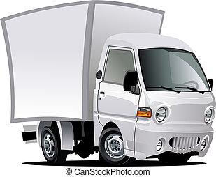 caricatura, entrega, /, camión de carga
