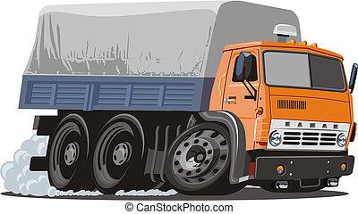 caricatura, entrega, /, caminhão carga