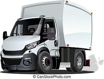 caricatura, entrega, ou, caminhão carga, isolado, branco, fundo