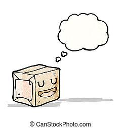 caricatura, envuelto, paquete, con, thougth, burbuja