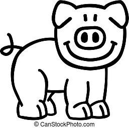 caricatura, esboço, porca