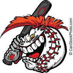 caricatura, esfera baseball, rosto, com, mohawk, cabelo, beisebol segurando, morcego, ilustração, vetorial