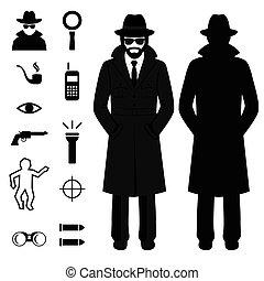 caricatura, espía, detective, icono
