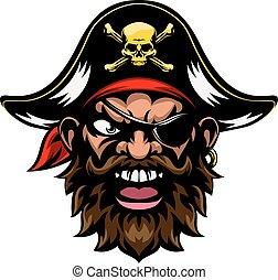 caricatura, esportes, mascote, pirata