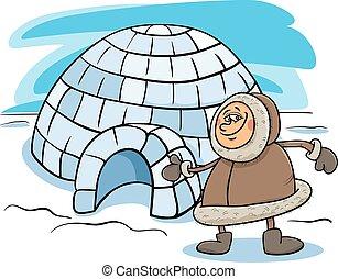caricatura, esquimó, ilustração, igloo