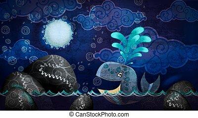 caricatura, estilo, baleia, em, a, noturna