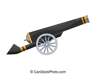 caricatura, estilo, color, pirata, imagen, antiguo viejo, barcos, fondo., cannon., cañón, blanco, medieval, gun., vendimia