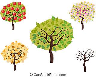 caricatura, estilo, de, sazonal, árvores