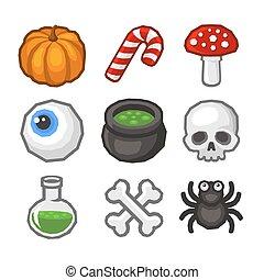 caricatura, estilo, dia das bruxas, ícone, set., vetorial