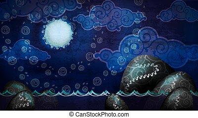 caricatura, estilo, noturna, seascape, com, lua cheia, e, pedregulhos, água