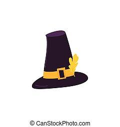 caricatura, estilo, peregrino, sombrero, con, amarillo, hoja del roble