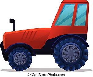 caricatura, estilo, trator, fazenda, ícone, vermelho