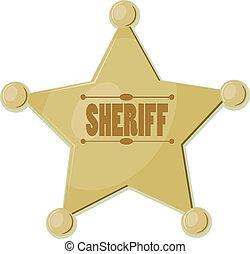 caricatura, estrela, sheriff., eps10