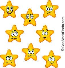 caricatura, estrelas, com, diferente, emoções