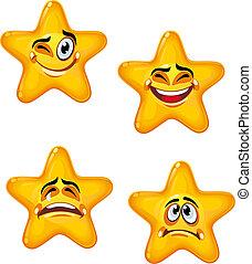 caricatura, estrellas
