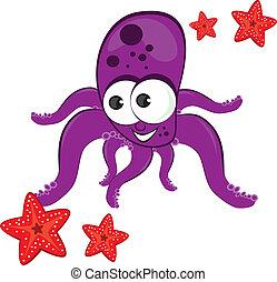 caricatura, estrellas de mar, pulpo, ilustración