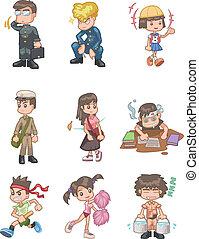 caricatura, estudante, ícone