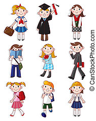 caricatura, estudiante, icono