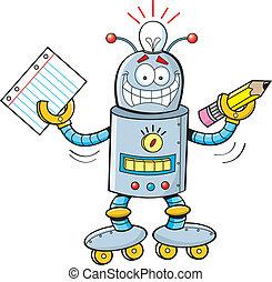 caricatura, estudiante, robot