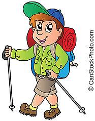 caricatura, excursionista, niño