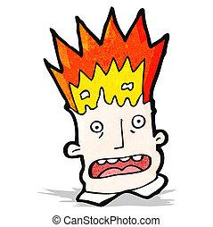 caricatura, explodindo, cabeça