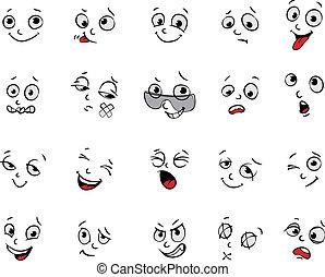 caricatura, expresiones faciales, conjunto
