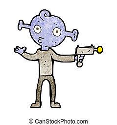 caricatura, extranjero, con, arma del rayo