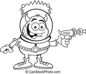 caricatura, extranjero, con, un, arma del rayo