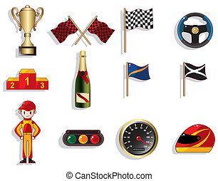 caricatura, f1, carreras de automóvil, icono, conjunto