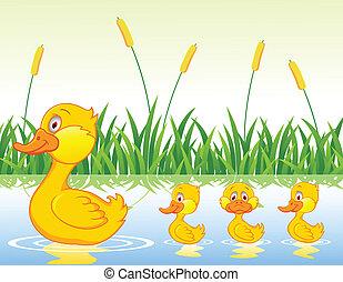 caricatura, família, pato