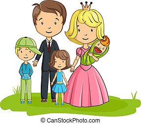 caricatura, família