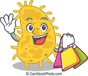 caricatura, famosos, ricos, bactérias, sacolas, personagem, spirilla, segurando, shopping