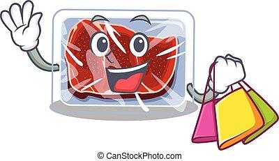 caricatura, famosos, ricos, carne, personagem, shopping, segurando, sacolas, congelado