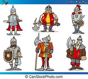 caricatura, fantasía, caballeros, caracteres, conjunto