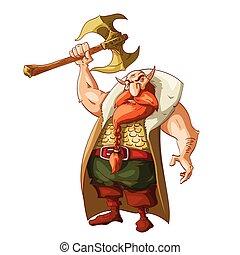 caricatura, fantasia, anão, guerreira