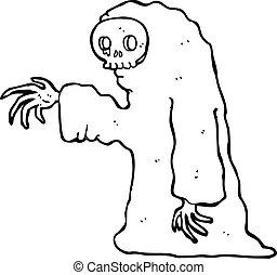 caricatura, fantasmal, halloween el traje