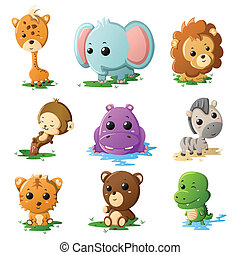 caricatura, fauna, iconos animales