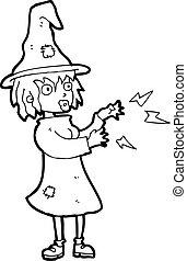 caricatura, feiticeira, período moldando