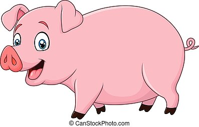 caricatura, feliz, aislado, cerdo