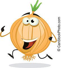 caricatura, feliz, cebolla, carácter