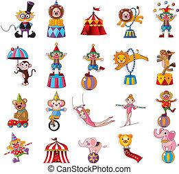 caricatura, feliz, circo, mostrar, ícones, cobrança